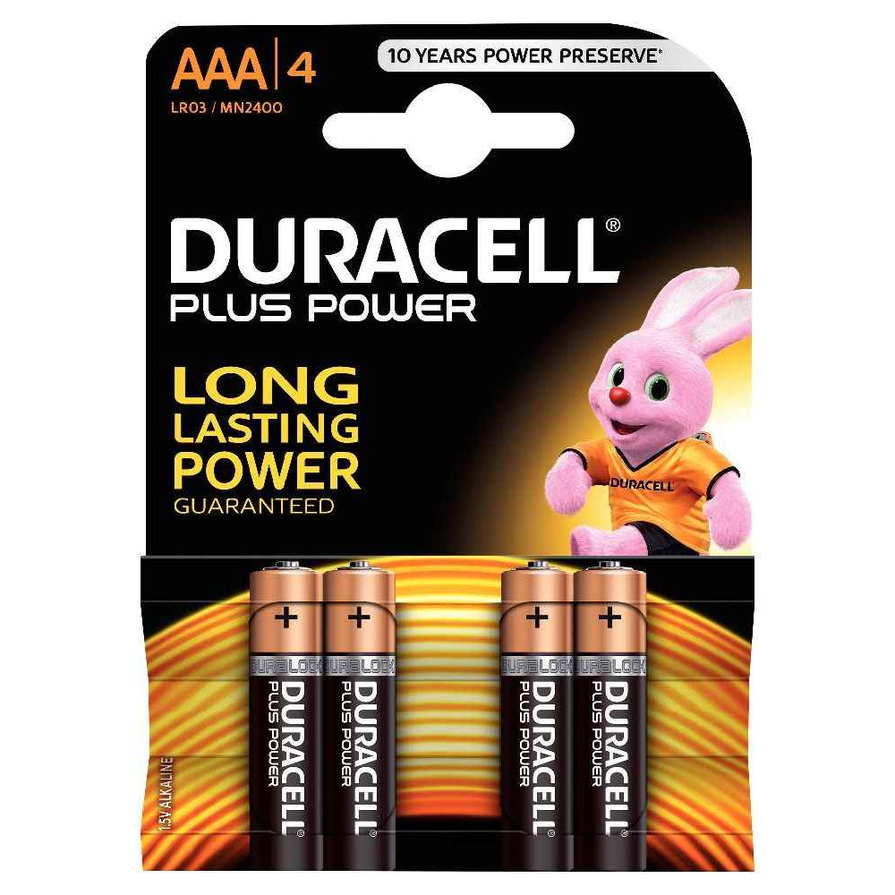 Piles 1,5V LR03 Duracell Plus Power - Blister de 4