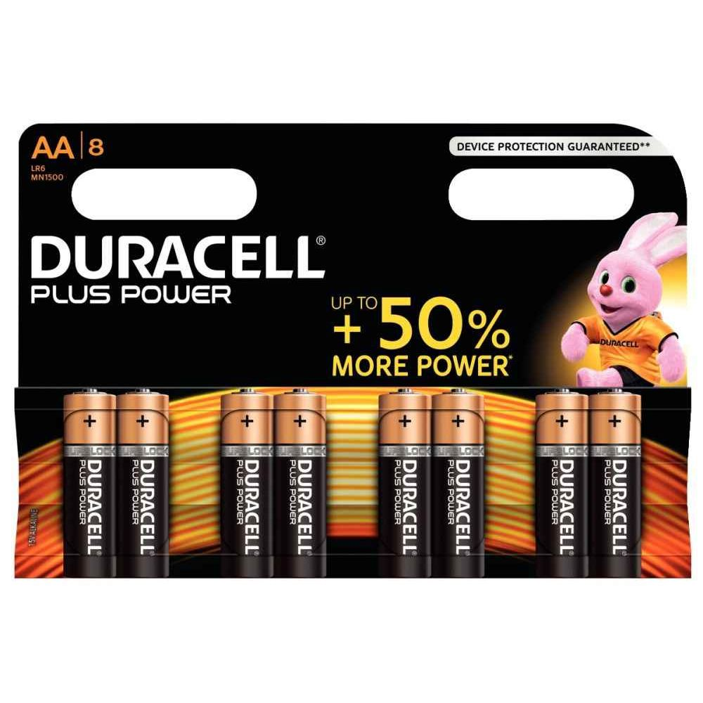 Piles 1,5V LR06 Duracell Plus Power - Blister de 8