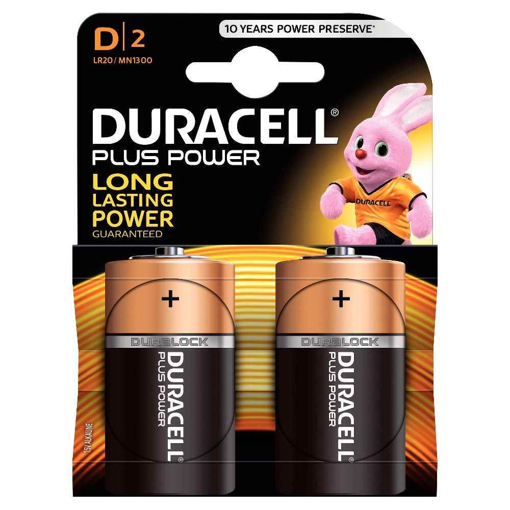 Piles 1,5V LR20 Duracell Plus Power - Blister de 2