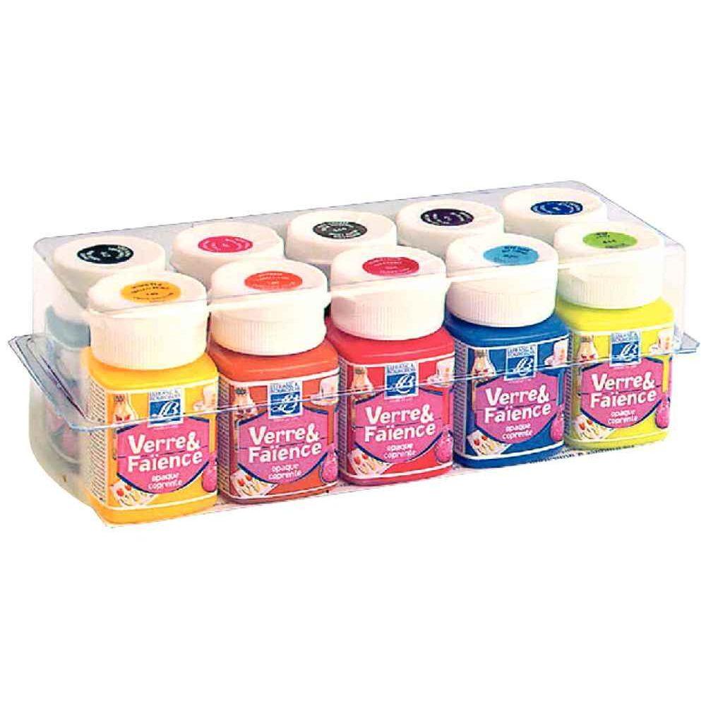 Peinture verre faience bo te de 10 flacons de 50ml for Peinture faience