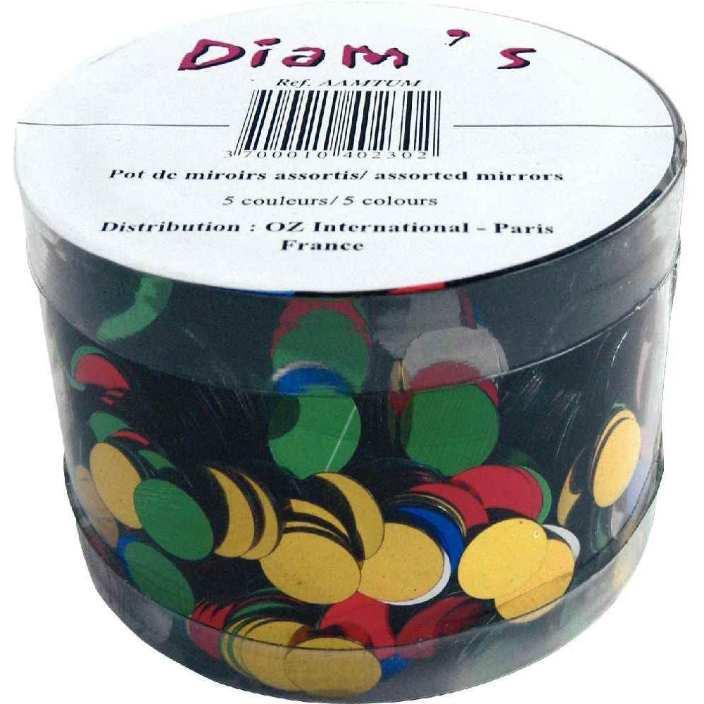 Miroirs ronds en plastique - Diamètre 1 cm - Pot de 5000