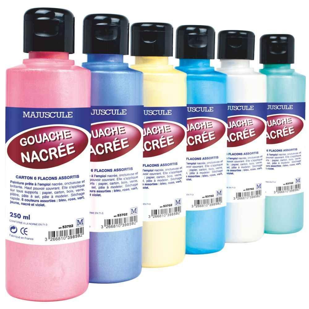 peinture nacree assorti coffret 6 flacons 250ml generic gouache paillet e sur planet eveil. Black Bedroom Furniture Sets. Home Design Ideas
