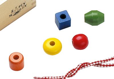 Grosses perles en bois bo te de 130 perles sur planet - Perle pour enfant ...