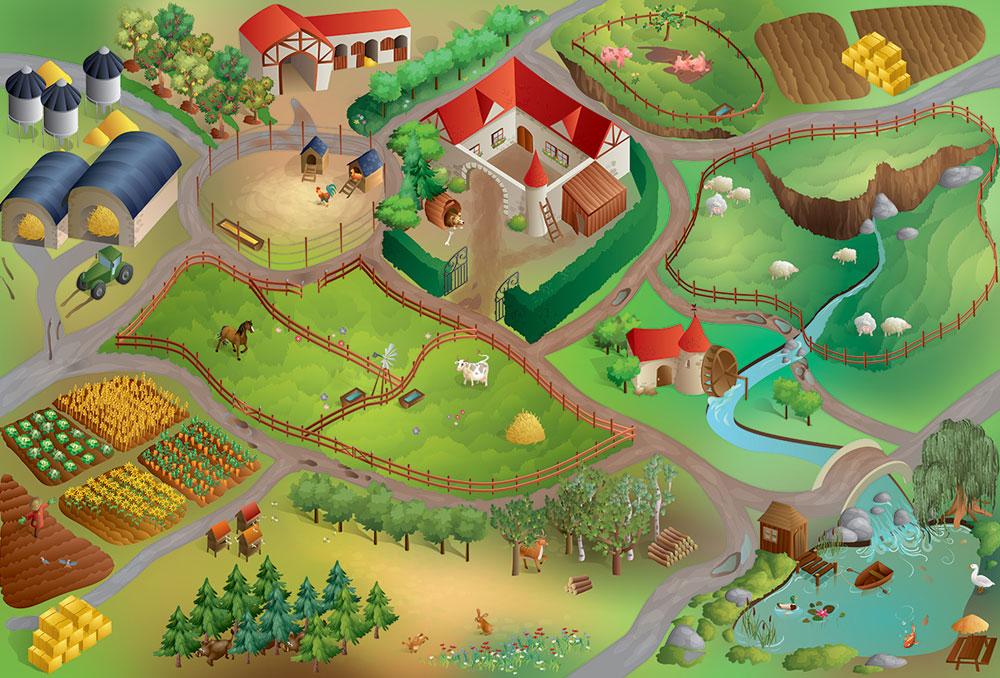 tapis de jeu g ant la ferme house of kids tapis de jeu sur planet eveil. Black Bedroom Furniture Sets. Home Design Ideas
