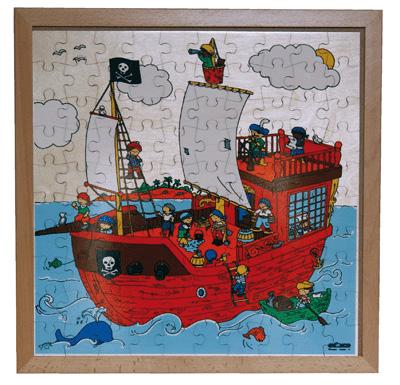 puzzle cadre en bois 39 le bateau des pirates 39 100 pi ces magnifique puzzle en bois verni. Black Bedroom Furniture Sets. Home Design Ideas