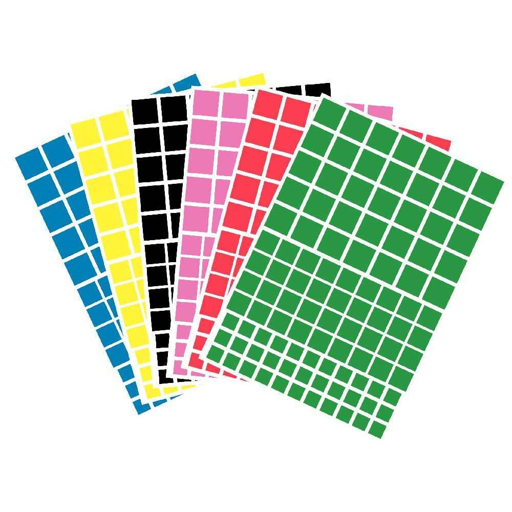 Gommettes carrées - Pochette de 612