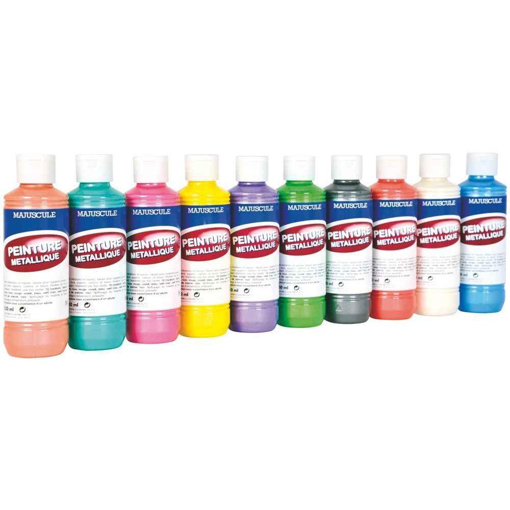 Peinture acrylique metallique assorti bo te 10 flacons de 250ml generic - Boite de peinture acrylique ...