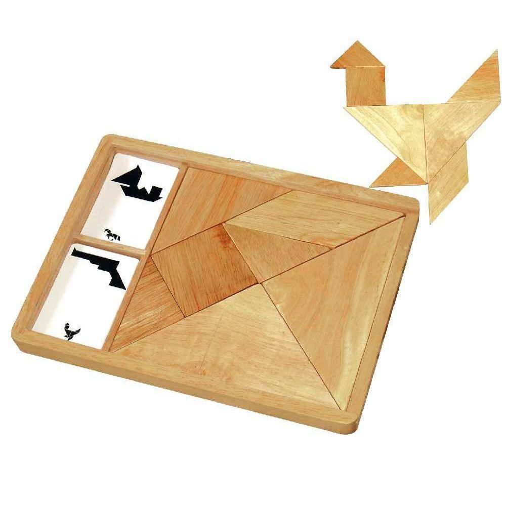 Grand tangram en bois + 27 cartes modèles