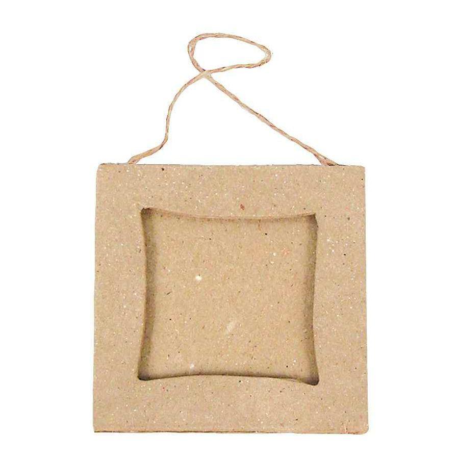Cadres mini carrés en carton à décorer - Lot de 10