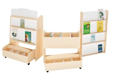 Bac livres en bois sur roulettes nowa szkola coin biblioth que sur plan - Bac a roulette sous lit ...