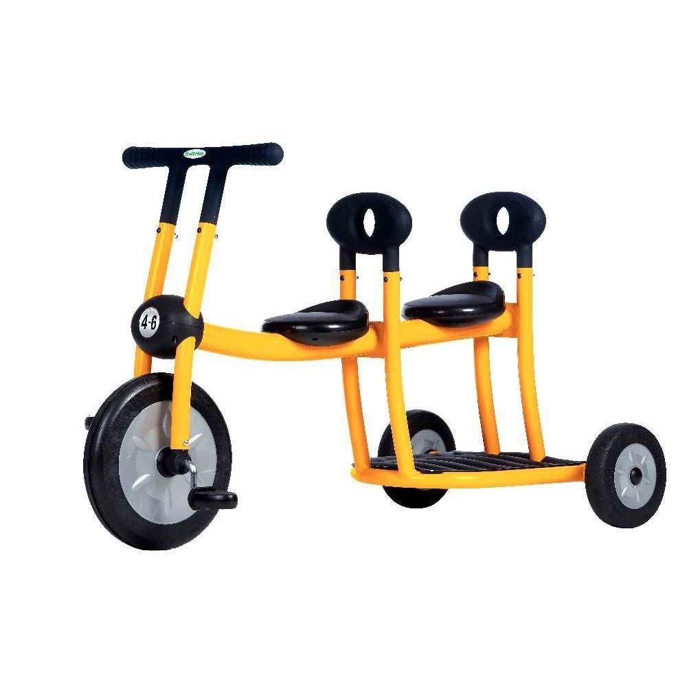 Bi-tricycle 2 places jaune pour 4-6 ans