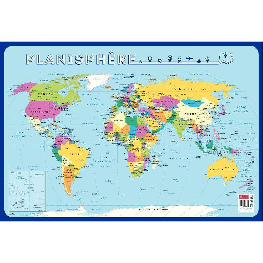 poster p dagogique en pvc 76x52 cm la carte du monde. Black Bedroom Furniture Sets. Home Design Ideas