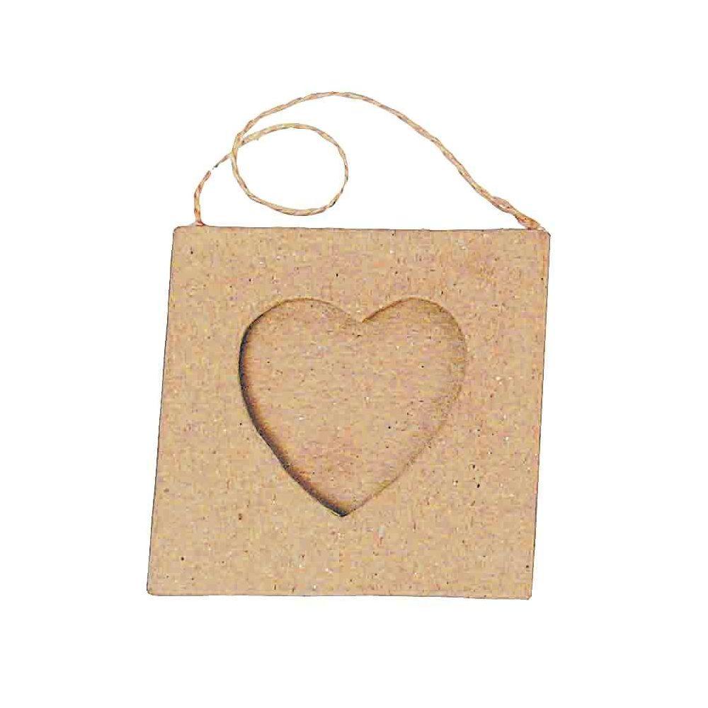 Cadres mini coeur en carton à décorer - Lot de 10