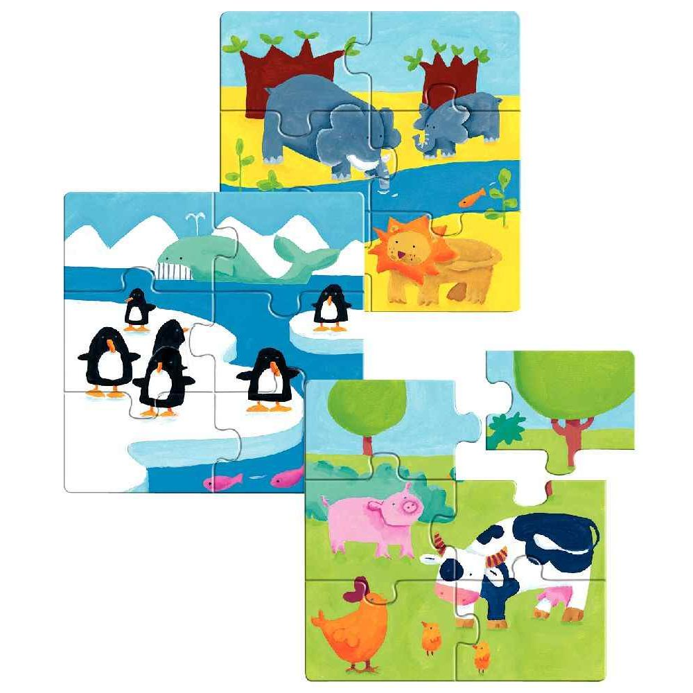 boite de 3 puzzles en bois 39 les animaux 39 de 6 pi ces dimensions 17 x 17 cm 3 th mes les. Black Bedroom Furniture Sets. Home Design Ideas