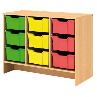 meuble bois vide pour 9 bacs plastique grand mod le avec syst me anti bascule des bacs dim h56. Black Bedroom Furniture Sets. Home Design Ideas