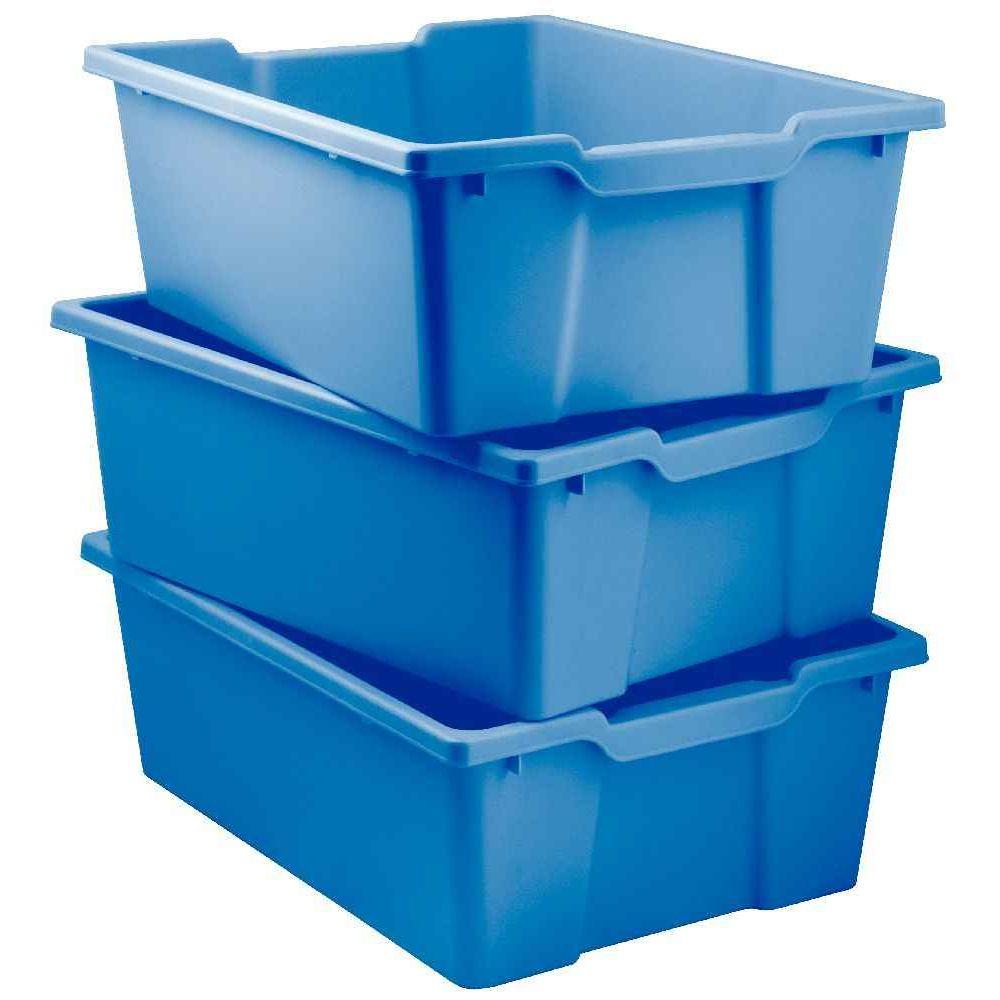 lot de 3 bacs plastique grand mod le pour meuble 78669 et 78670 bleu dim 15x31x42cm. Black Bedroom Furniture Sets. Home Design Ideas