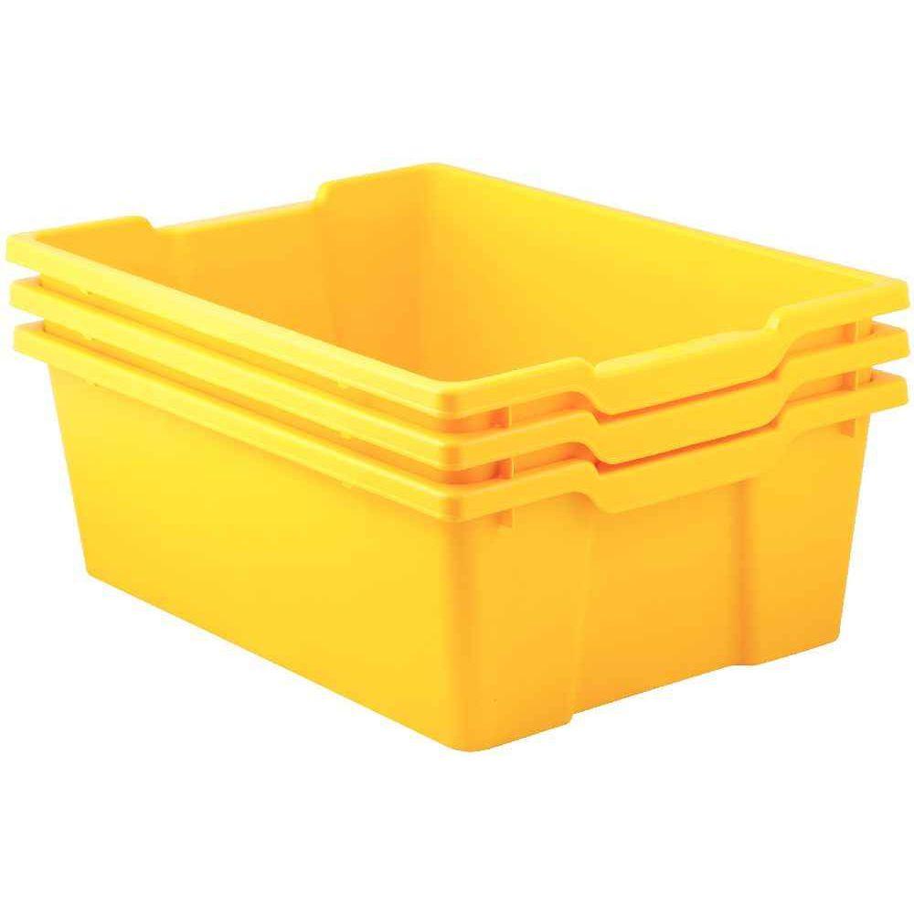 bacs en plastique grand mod le jaune pour meuble 78669 et 78670 lot de 3 gratnells case et. Black Bedroom Furniture Sets. Home Design Ideas