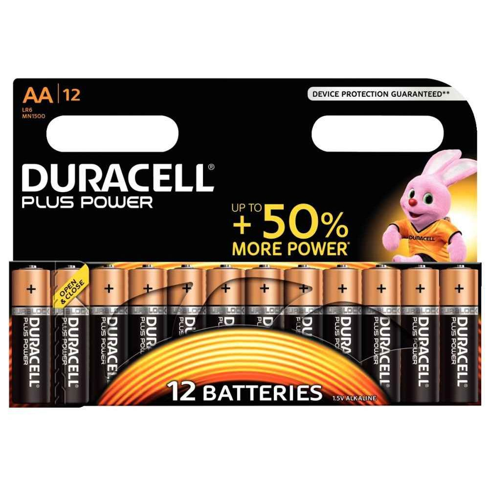 Piles 1,5V LR06 Duracell Plus Power - Blister de 12