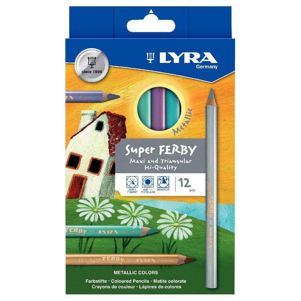 Etui de 12 crayons de coloriage Super Ferby - corps triangulaire - mine 6,50 mm - coloris métallique