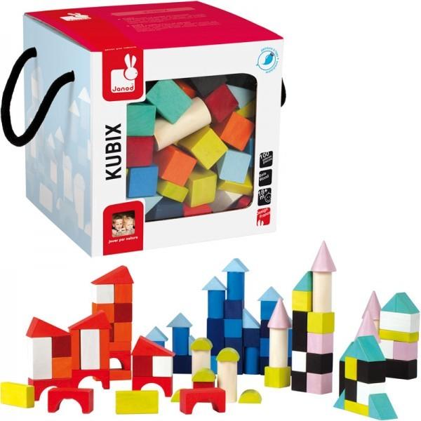 Kubix 100 cubes de construction en bois janod jeux de construction 1er ge sur planet eveil for Construction cube bois