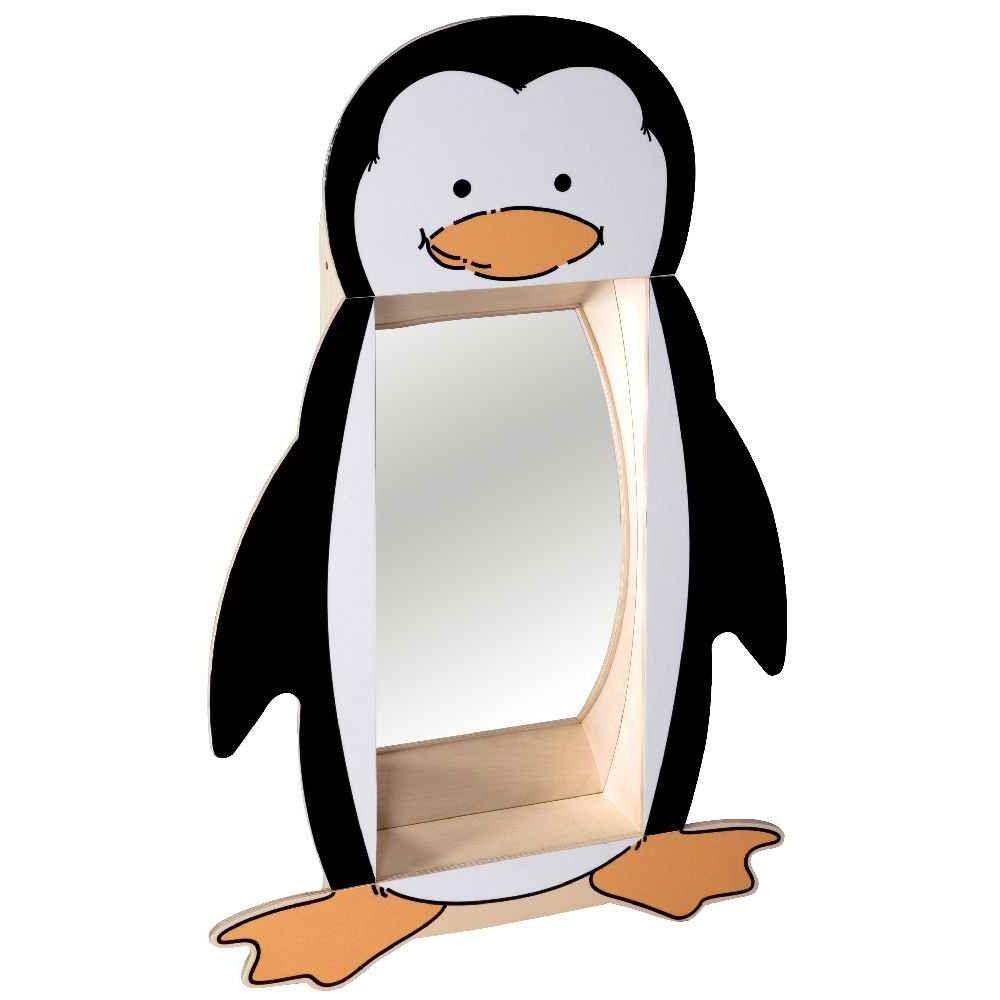 Miroir d formant pingouin cadre en bois solide educo for Miroir deformant