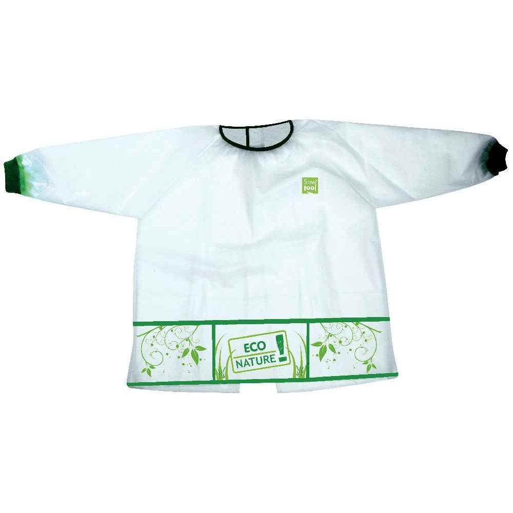 Tablier écologique enfant - Modèle 3-5 ans - Blanc et vert
