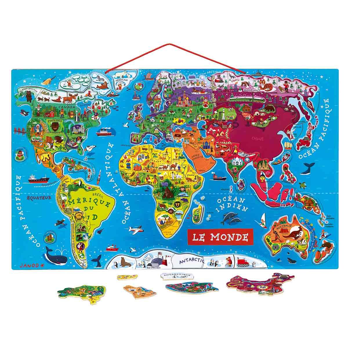 puzzle monde magn tique planisph re de 92 pi ces janod puzzles de 40 pi ces sur planet eveil. Black Bedroom Furniture Sets. Home Design Ideas
