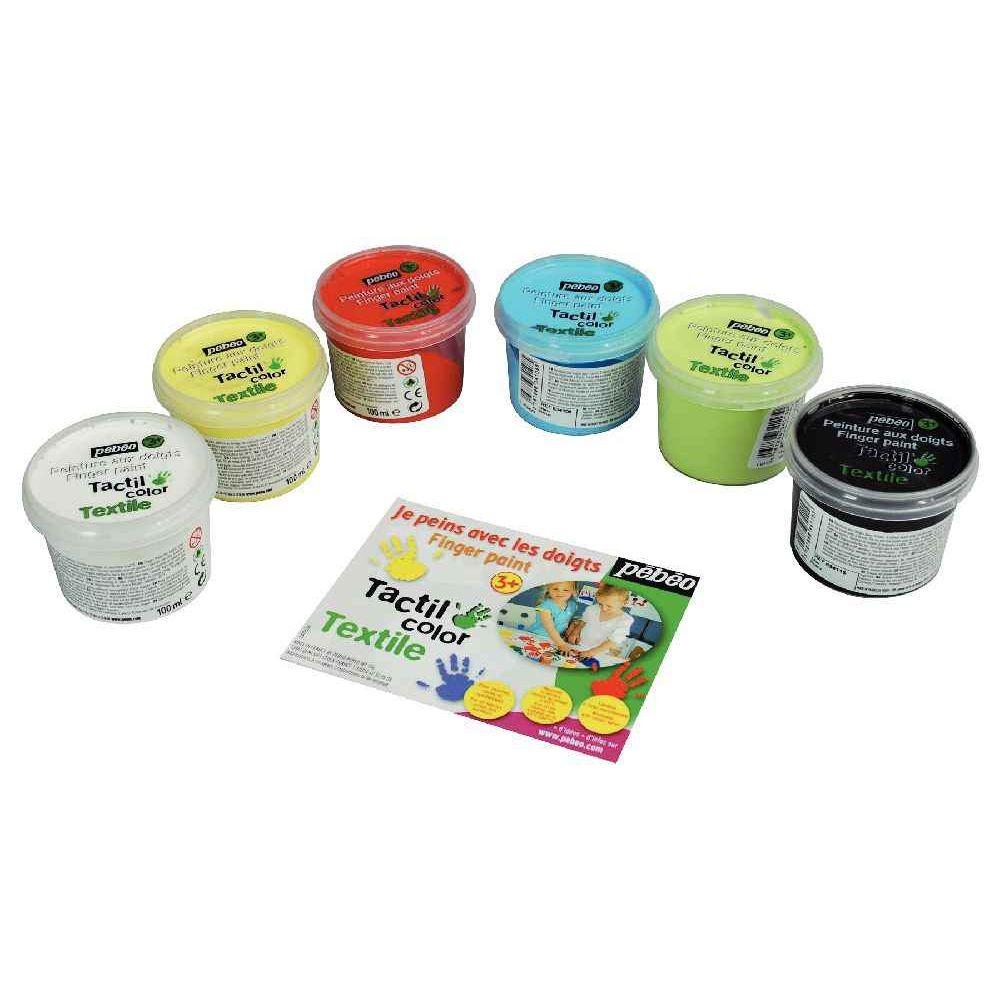 peinture aux doigts pour textile boite de 6 pots pebeo peintures tissus sur planet eveil