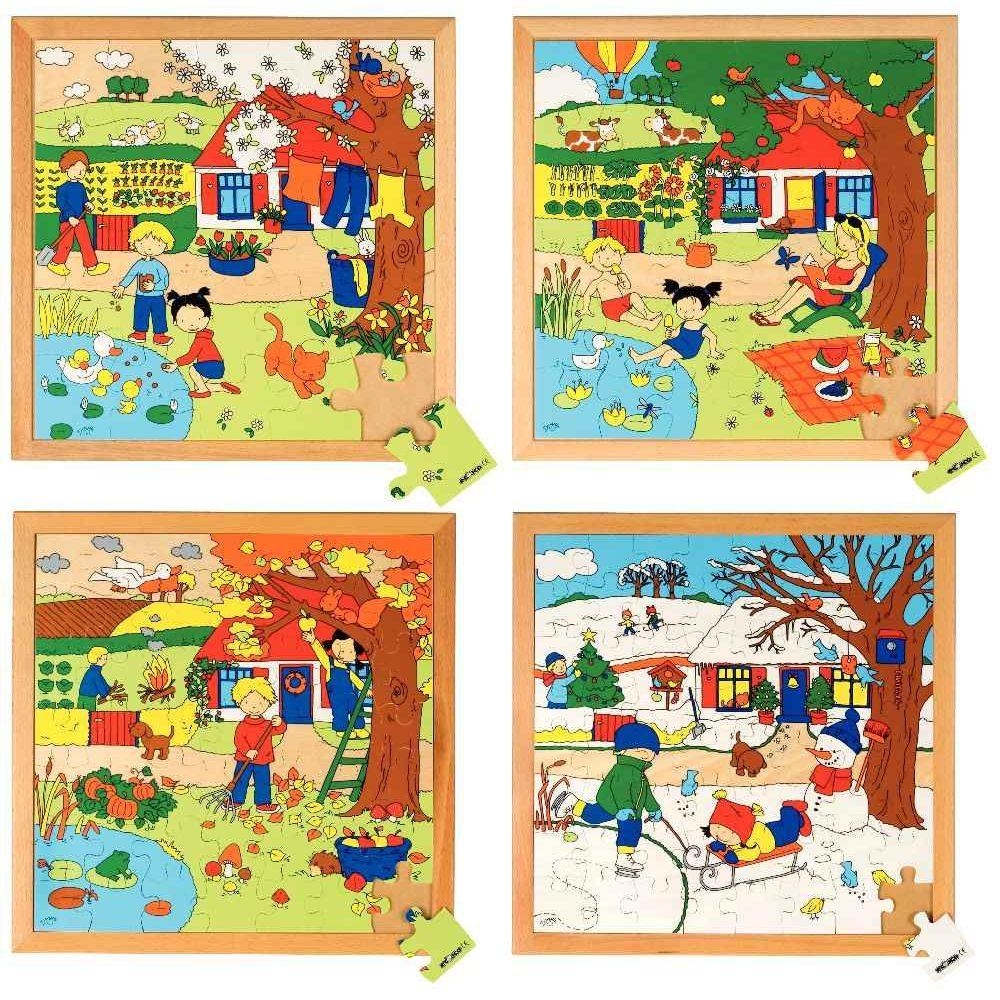 puzzle en bois les 4 saisons lot de 4 educo puzzles de 21 40 pi ces sur planet eveil. Black Bedroom Furniture Sets. Home Design Ideas