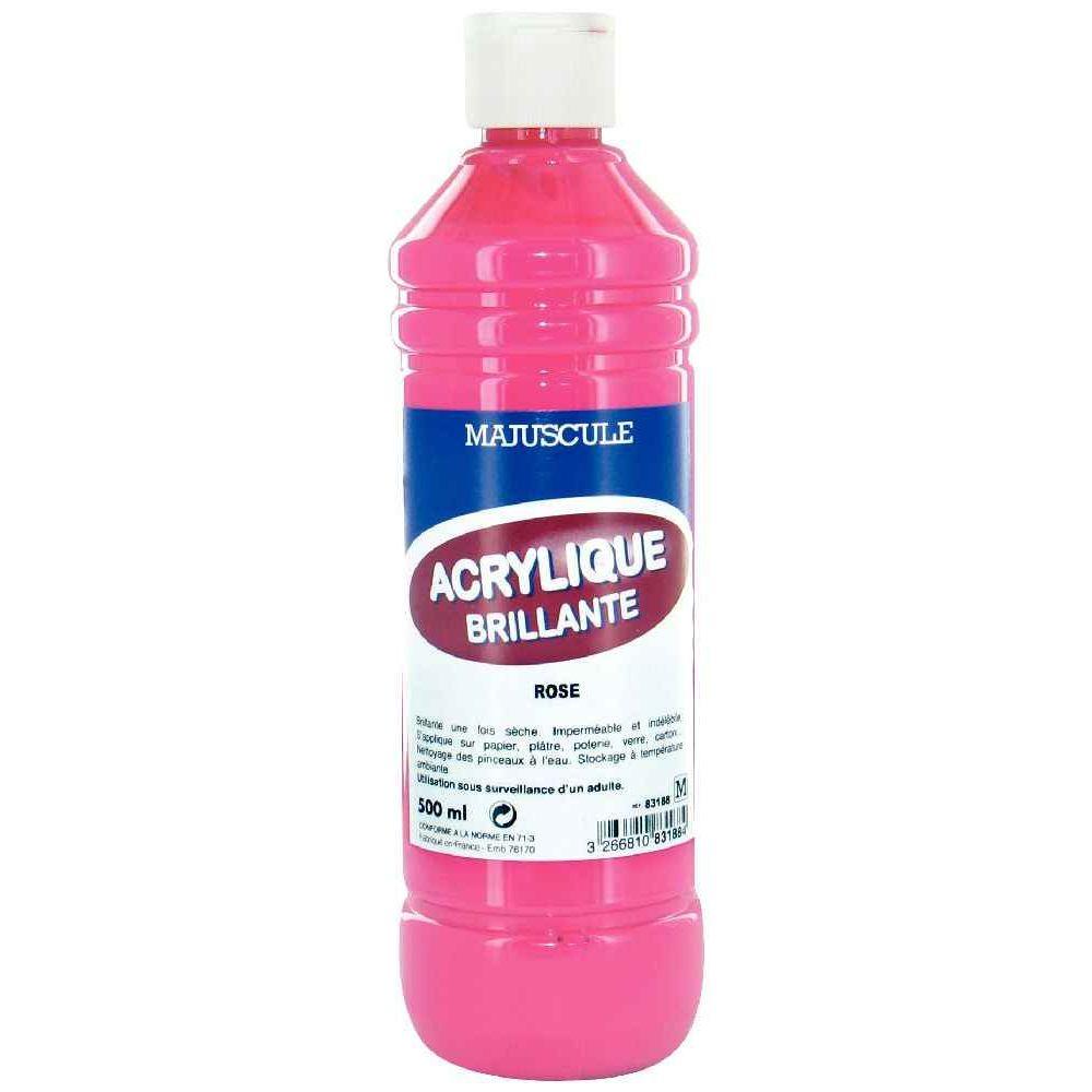 Peinture acrylique brillante coloris rose flacon de 500ml generic peinture acrylique sur for Peinture coloris